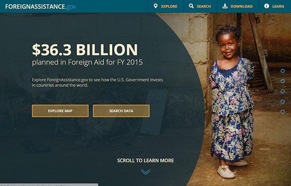 ForeignAssistance.gov's website after re-design