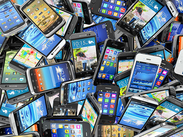 A pile of different smart phones