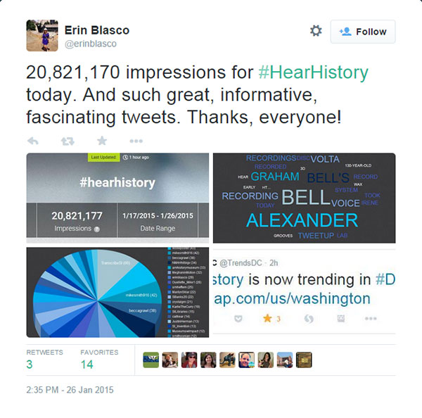 Tweet by Erin Blasco showing various stats for the #HearHistory Tweetup