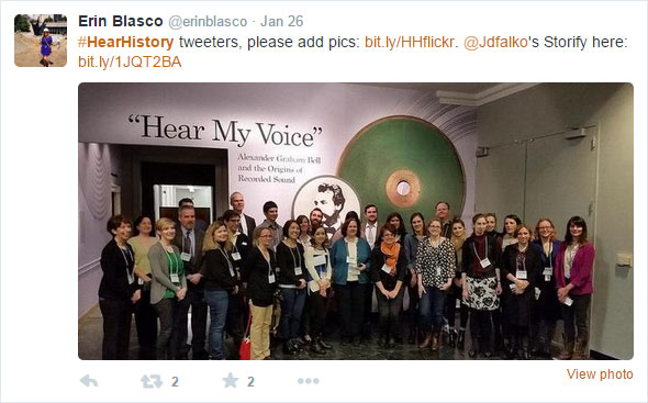 Screen capture of a Tweet by Erin Blasco ‏@erinblasco about the Smithsonian National Museum of American History (NMAH) HearHistory Twitter event, with a photo of the group of attendees.