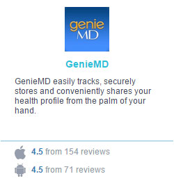 Screen capture of one of the Blue Button Initiative apps, GenieMD, that displays a 4.5 ratings from Apple and Android users. It's summary says, GenieMD easily tracks, securely stores and conveniently shares your health profile from the palm of your hand.