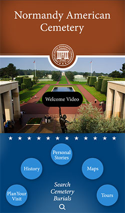 Screen capture of home screen for the Normandy American Cemetery app
