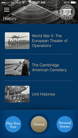 Screen capture of the Cambridge American Cemetery app