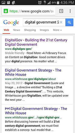 Screen capture of Digital Gov's mobile website at the top of search results on Google.