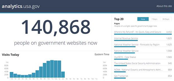 A screen capture of a portion of the Analytics dot U S A dot gov dashboard shows a tally of 140,868 people viewing government websites at that moment.