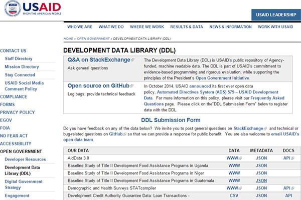 USAID's Development Data Library (DDL) website screen capture