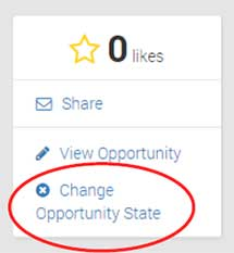Screen capture of the Change Opportunity State link