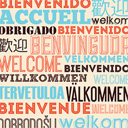 Language poster design using social speech bubbles with the word, Welcome, in various languages