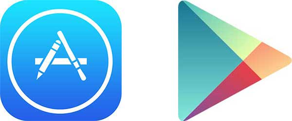 Apple App Store and Android Google Play icons