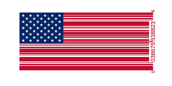 American flag as bar code