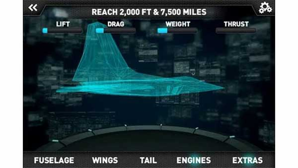 Screen capture of a design schematic from Make It Fly: create your own Air Force planes Android app.