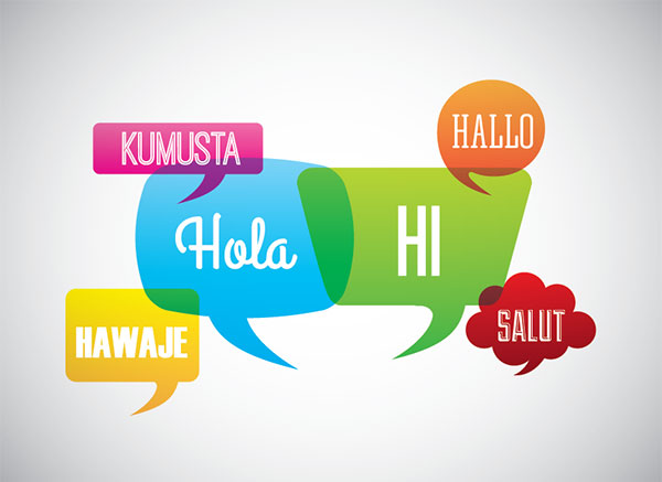 Language poster design using social speech bubbles with the word, Hello, in various languages