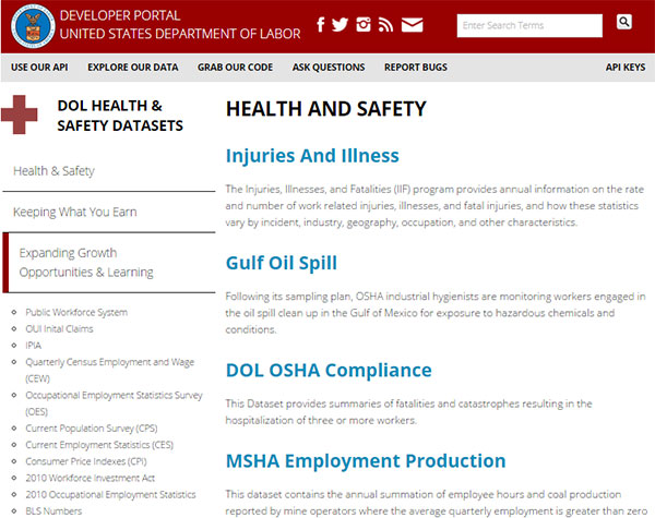 Department of Labor's Developer Portal website showing some Health and Safety datasets