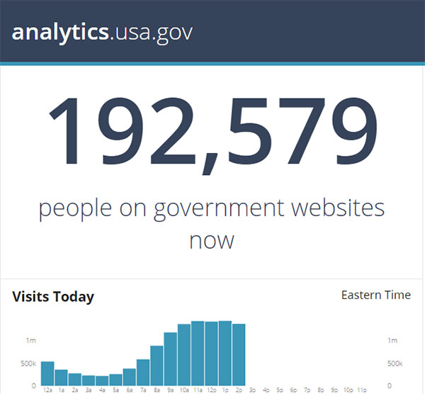 A screen capture showing that there were 192,579 people visiting government websites at that moment.