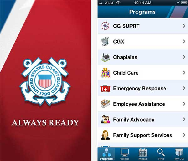 Coast Guard Always Ready iPhone app home screen and menu screen