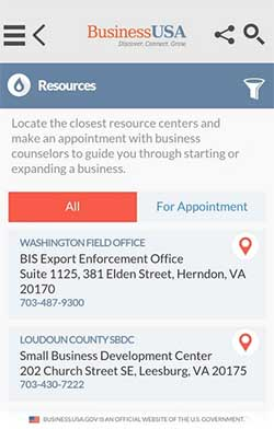Business U.S.A. Resources screen