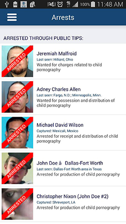 Operation Predator Arrests page as seen on the Android app.