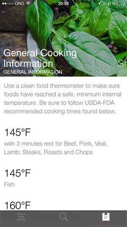 USDA Food Safety and Inspection Service FoodKeeper iOS app cooking info