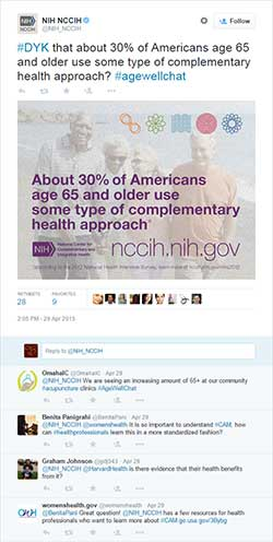 NIH NCCIH Age Well Twitter Chat from April 29, 2015