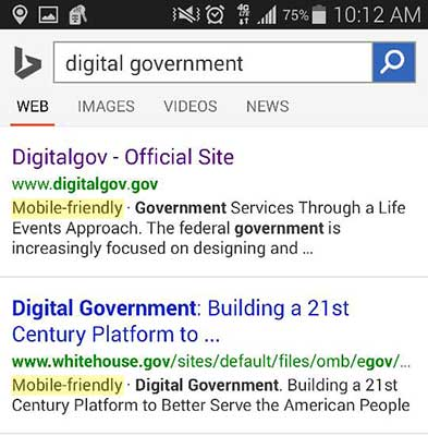 Search on Bing showing Mobile friendly site