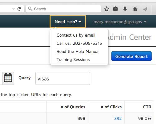 A Screenshot of DigitalGov Search contact information