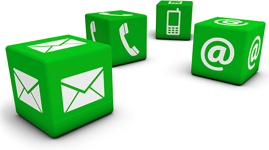 Four white Contact Us icons on green cubes