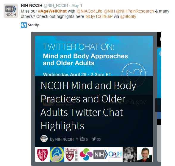 NIH NCCIH Age Well Twitter Chat link to Storify