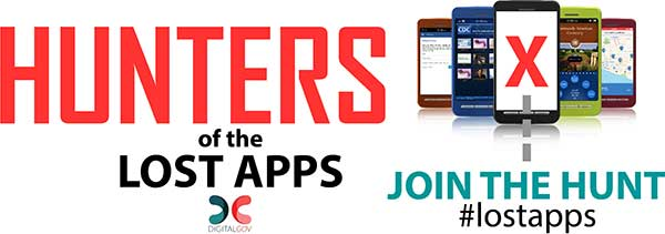 The Digital Gov Hunters of the Lost Apps Twitter promo graphic, inviting users to Join the Hunt and use the Lost Apps hashtag.