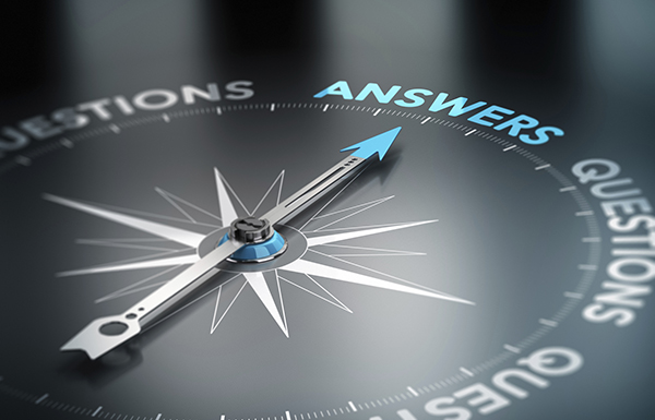 Questions compass with needle pointing to Answers