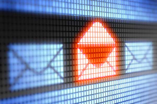 Email icons, with an open one highlighted in orange