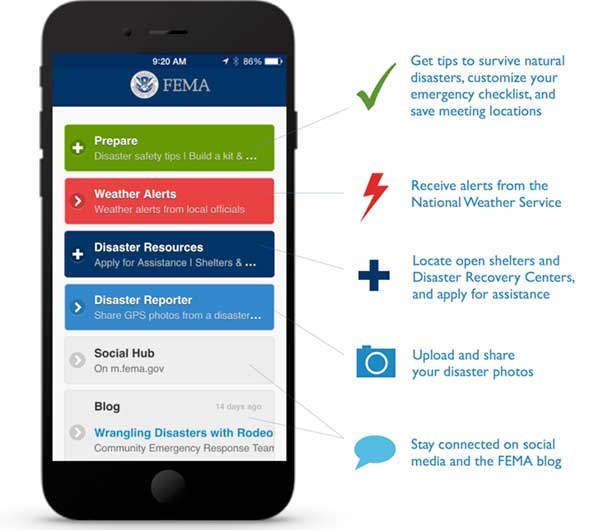 Menu items from the FEMA app, which is available for Apple, Android, and Blackberry mobile devices.