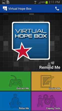 Virtual Hope Box app menu screen