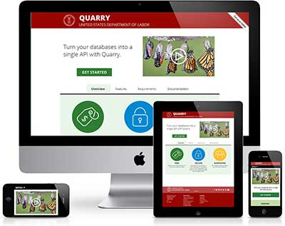 The Department of Labor's Quarry API seen on the screens of various devices