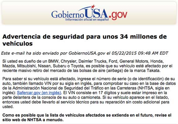An email campaign in Spanish, using the Gobierno U.S.A. dot gov logo header.