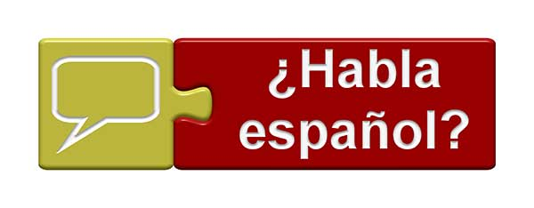 A two-piece puzzle; the left piece shows a speech bubble, and the right piece asks the question, Do you speak Spanish? in Spanish; Habla Español?