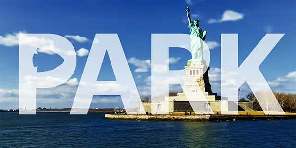 Park logo over Statue of Liberty from NPS promo video