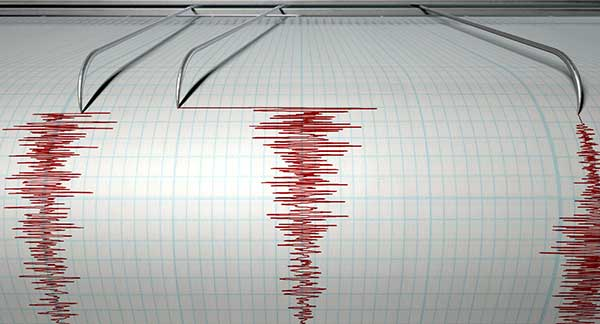 A seismograph showing earthquake activity