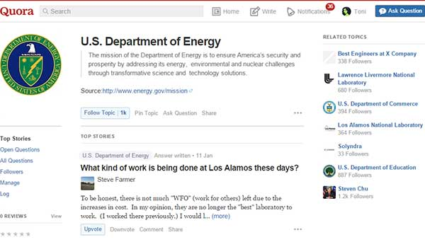 The Department of Energy's topic page on Quora