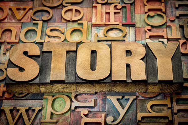 The word Story in wooded type