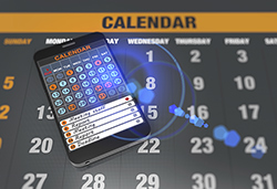 Calendar on tablet computer