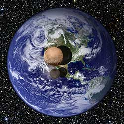 This graphic presents a view of Pluto and Charon as they would appear if placed slightly above Earth's surface and viewed from a great distance. Recent measurements obtained by New Horizons indicate that Pluto has a diameter of 2370 km, 18.5% that of Earth's, while Charon has a diameter of 1208 km, 9.5% that of Earth's.
