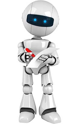 A white robot writes on paper with a pen