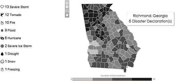 A data visualization map of Georgia shows different types of disasters that have occurred since 1953.