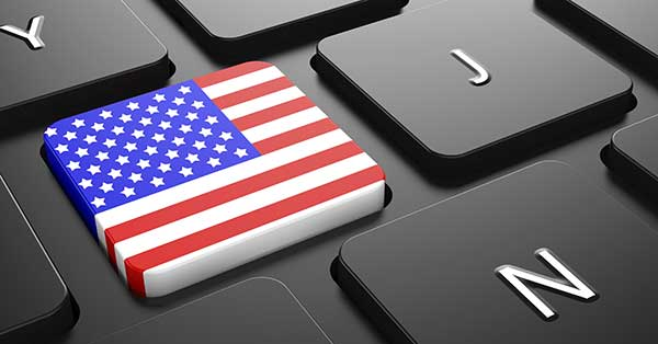 American Flag on button of black keyboard