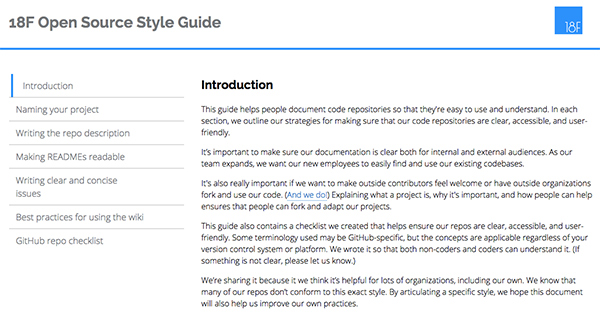 Screenshot of 18 F's Open Source Style Guide
