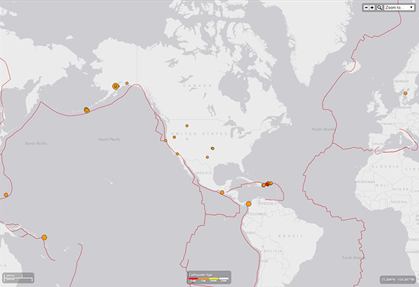 A USGS earthquake map shows 47 of 50 earthquakes that occurred on July 29, 2015