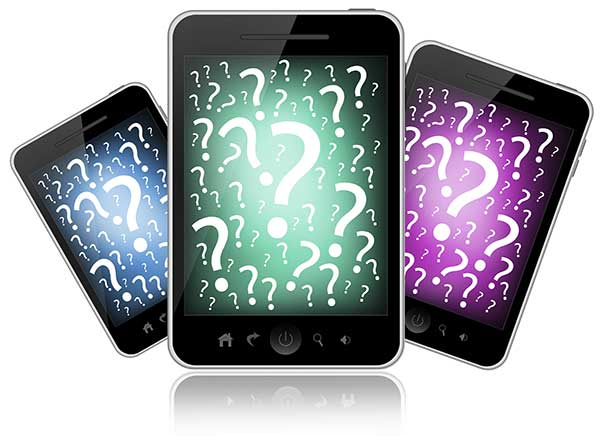 Mobile devices with question marks on the screens