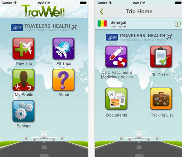 The CDC's TravWell app's menu and trip screens
