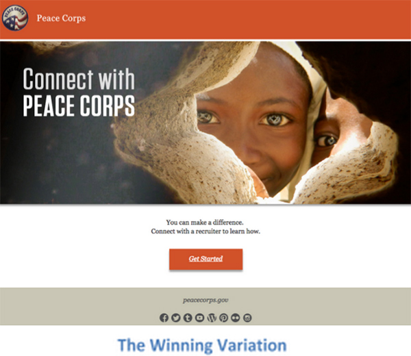 A screenshot of a winning digital marketing campaign for the Peace Corps.