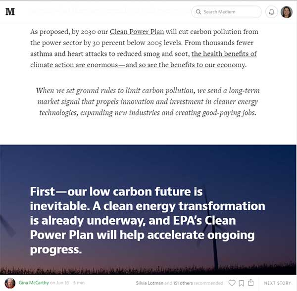 """The Economic Case for Fighting Climate Change"" by the Environmental Protection Agency's Gina McCarthy takes advantage of Medium's visual layouts to make key points. Click to read"